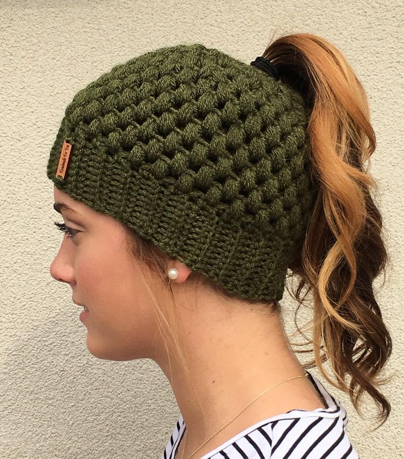 606d3b31535 MESSY BUN BEANIE Crocheted Bun Hat Messy Bun Hat Ponytail