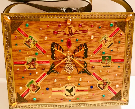 MONTE CRISTO Bejeweled Cigar Box Purse w. Cigar Bands    f74d32b2054d4