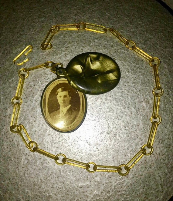 ANTIQUE Celluloid Chain and Large Double Celluloid