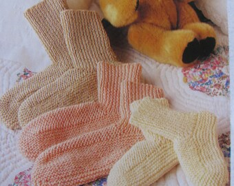 Knitted Bed Socks 3 Sizes Knitting Pattern PDF Instant Download Shabby Chic Bed Socks 8 Ply Double Knit Light Worsted Child Lady or Man Size