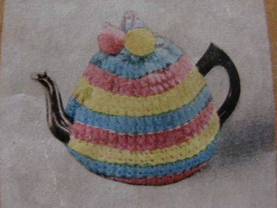 Three Tea Cosy Knitting Patterns Striped Tea Cosy Two Cup And Etsy