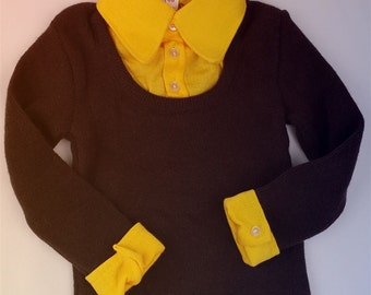 Vintage unique1960's deadstock flowerpower collar sweater knitwear brown ochre  smufje jumper boy birthday babyclothe toddler retro style