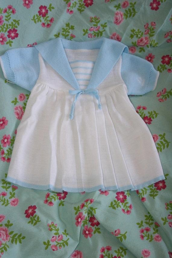 d692a472c2adca 60s Vintage Babyjurkje Meisje Gebreid Matrozenjurkje Etsy