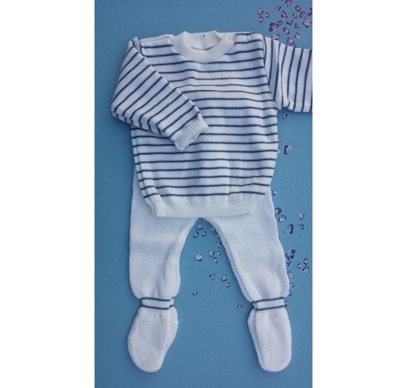 Babykleding Jongen Maat 74.Vintage Baby Jongens Truitje Bretons Streepje Wit Blauw Etsy