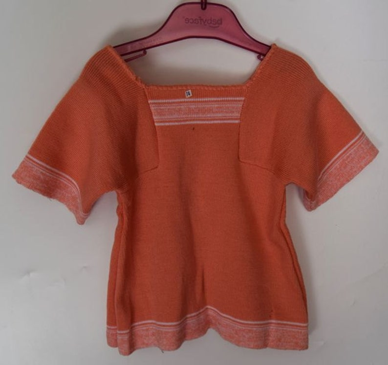 old vintage tunic dress new from the 1970s flowerpower babydress size 6 months Smufje dutch desugn babygirl romper knitted pinafore dress