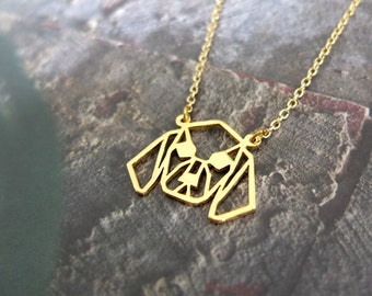 Geometric Beagle Necklace, Dog portrait Jewelry, personalize pet lover gift for bestfriend
