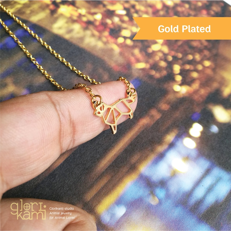 Origami dog Jewelry Doberman gift Gold Plated Brass Hand Cut Pendant Doberman Dog Necklace