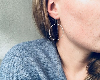 Minimalist Pull-through Earrings  // Cool Statement Earrings // (Gold plated) Sterling Silver
