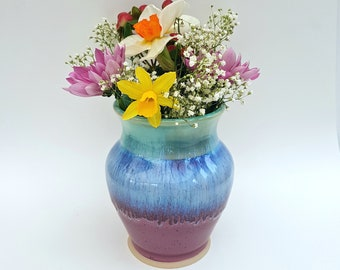 Purplish Pink, Green, and Blue Small Vase - Height : 12 cm - Ceramic Flower Vase - Handmade Pottery - Stoneware - Housewarming Gift
