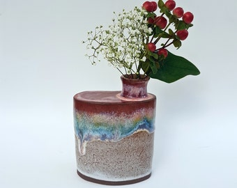 Rainbow over Speckled White Pottery Flask Vase - Rustic Wheel Thrown Handmade Ceramics - Flask Shaped Vase - Stoneware Mocha Pottery
