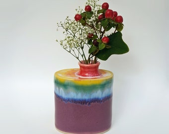 Rainbow over Purplish Pink Pottery Flask Vase - Wheel Thrown Handmade Ceramic Flask - Flask Shaped Vase - Stoneware Pottery