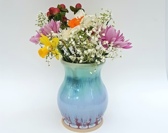 Purplish Pink, Green, and Blue Bud Vase - Height : 10.75 cm - Ceramic Flower Vase - Handmade Pottery - Stoneware - Housewarming Gift