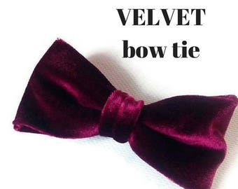 burgundy velvet bow tie burgundy wedding wine bow tie men's bow tie mens neckties pocket square for men gitf idea boys bowtie groom burgundy