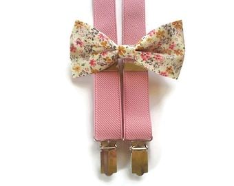 adb3f9e2d5f50 soft pink suspenders and ecru pink mustard floral bow tie for groom and  groomsmaids fall wedding attire ideas for ring bearer best man