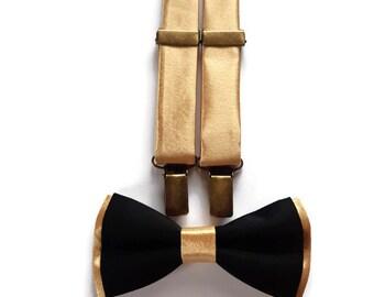 0fbf2c06e33 Black gold bow tie