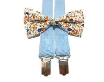 ECRU tiny blossoms bow tie yellow red blue wildflowers pattern neck tie for groomsmen ringbearer outfit hair bow self tie bow ties A4821