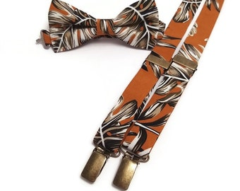 It/'s a Jungle out there Tropical Leaf Bow Tie Palm Leaves unique bow ties. Safari Khaki Hawaiian Foliage Exotic Greens Sandy Beaches