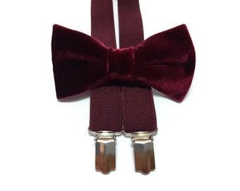 f5b1eb4389b1 burgundy wedding bow tie velvet WINE suspenders groomsmen bow ties groom  set boys ring bearer bordeaux outfit neck tie self tie dog A482/VL
