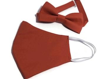 Cinnamon Rust wedding bow tie groom's matching suspenders men's necktie Fall Autumn bridal party