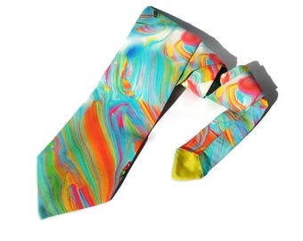 RAINBOW wedding watercolor necktie bright tie skinny men's tie standard tie for men raintbow ties groomsmen bow tie for groom pocket square