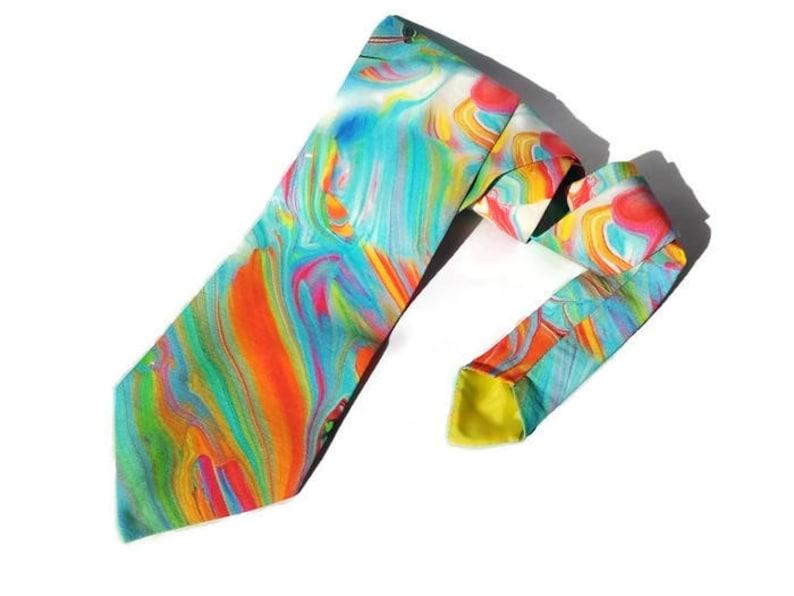 RAINBOW wedding watercolor necktie bright tie skinny men's image 0