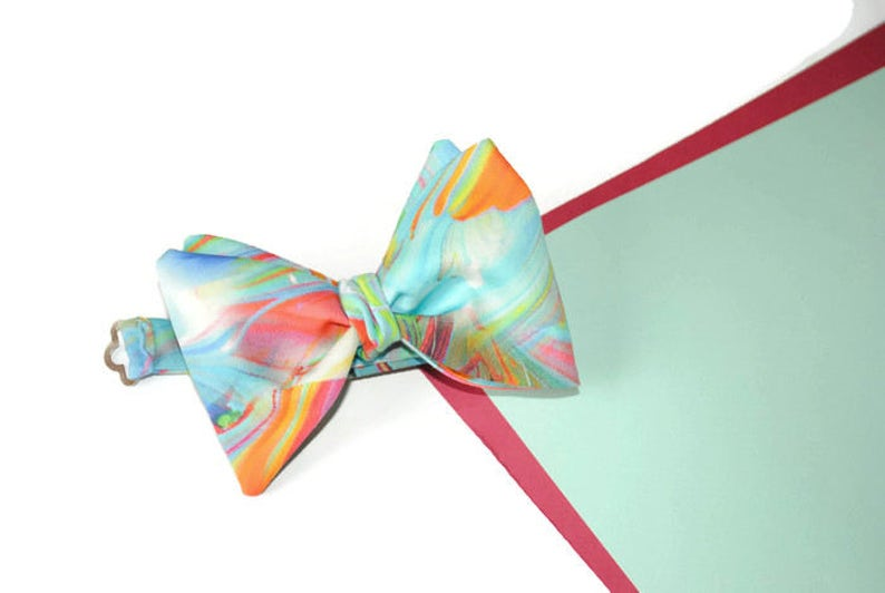 wedding gift ideasrainbow bow tiefor groom watercolor image 0