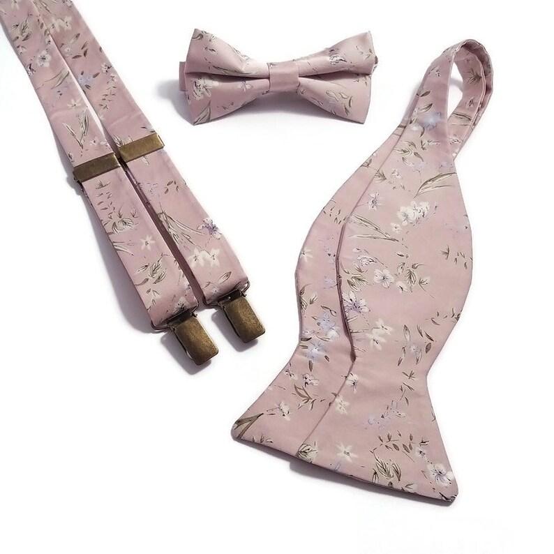 Elegant pink and Blush tiny blossom Ring bearer bowtie Toddler suspenders SATIN men/'s handkerchief Baby Boys braces Groomsmen Groom necktie