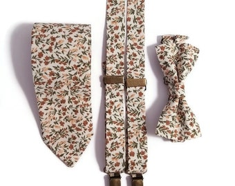 ECRU floral bow tie groom necktie Groomsmen suspenders Beige shabby chic Pastel Fall brown wedding Ringbearer outfit Toddler Infant Brother