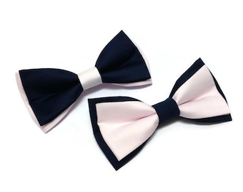 2 colors BLUSH and NAVY wedding men's bow ties TWO styles available for groom and groomsmen for ringbeares outfit