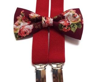 BERRY wedding roses bow tie+RED braces, groomsmensocks,ties and suspenders,groom's socks,wedding set,father of the groom,ringbearer outfit