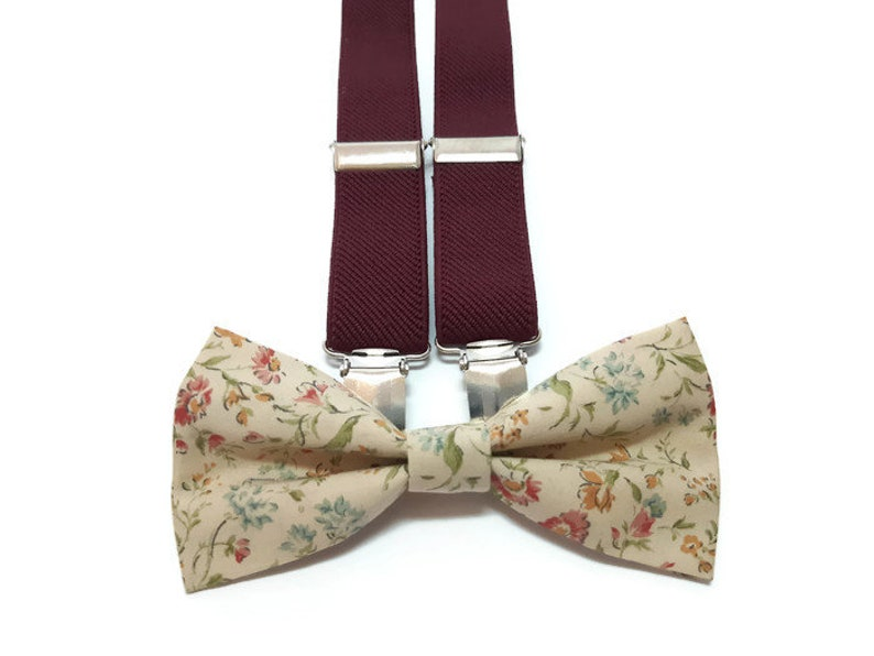 85c0e968c249d Set of BUrgundy WINE suspenders and floral bow tie Earth toned | Etsy