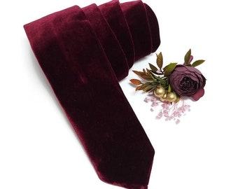 burgundy velvet NECKTIE narrow tie mangroomsman wedding attire winter garnet wedding ringbearer toddler set suspenders match bowtie baby boy