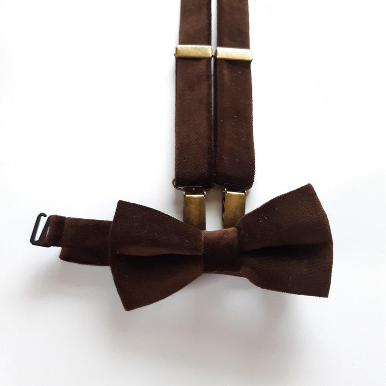 """USA /""""DARK BROWN/"""" Matching Suspender /& Bow-Tie Set Kids Toddler Baby Boys Girls"""