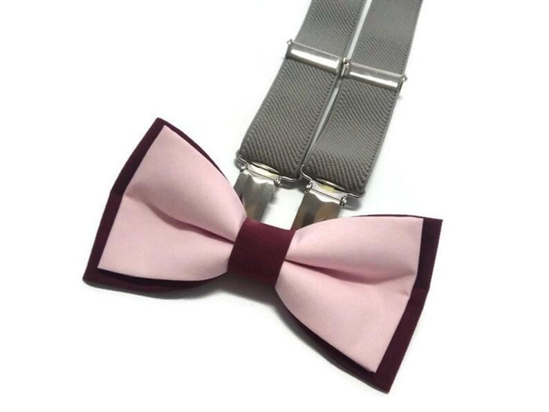 Suspender and Bow Tie Adults Men Dark Burgundy Maroon Formal Wear Accessories