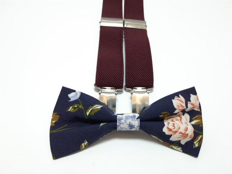 96d32593f3633 Navy roses bow tie and BURGUNDY WINE suspenders groomsmen | Etsy