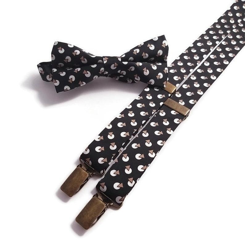 black white brown geometric bowtie Matchinf suspenders Face Mask SATIN Modern and geometric wedding ideas Spring Winter Groomsmen neckties