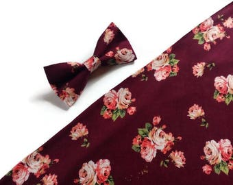 wedding bow tie burgundy floral roses bowtie groom neck tie groomsmen pocket squares rind brearer outfit fall weddings accessoryB12457 men