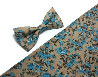 Tan blue floral bow tie for blue wedding ideas groomsmen outfit for men groom ring bearer accessories light brown