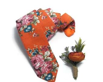 LIMITED EDITION BURNT orange boutonnirer+Orange floral roses tie,groomsmen buttonhole groom,wedding neckties,groom outfit,ringbearer set