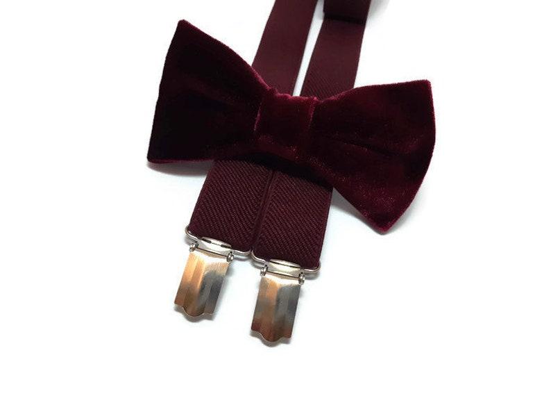 80dcf798e Burgundy wedding bow tie velvet WINE suspenders groomsmen bow