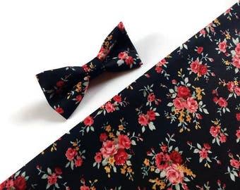 black floral wedding bow tie wedding skinny tie coral pink roses pattern bowtie for groom TK143309 groomsmen bow ties groomsmen neck ties