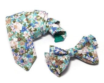 mint floral bow tiepastel blue beige blossomsgroomsmen ties,wedding outfit for groom,ring bearer outfit,matching neck tie,pocket square