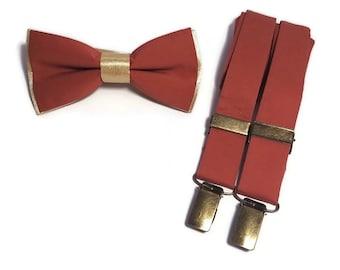 TERRACOTTA+GOLD bowtie Rust Suspenders Face mask Necktie Handkerchief Groom Groomsmen socks Ringbearer bridal Cinnamon Sienna Rustic wedding