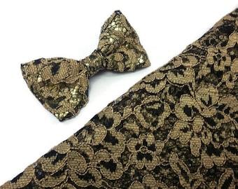 Black gold lace bowtie
