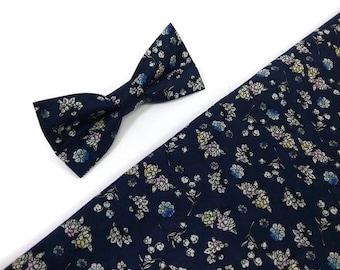 Deep blue floral  bow tie for wedding ring bearrers ourftirs groom attire groomsmen ties men's handkerchief////matching self tie bowtie