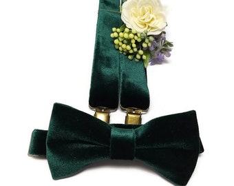 Emerald GREEN VELVET suspenders,velvet bow tie set,ring bearer outftit,groomsmen suspenders,handcrafted green braces,groom wedding bow tie