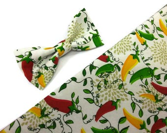 Mexican wedding bow tie with pepers pattern wedding bow tie ring bearer bow tie groom narrow tie 2'', 2,5'',3'', 3,25'', 3,5'', groomsmen
