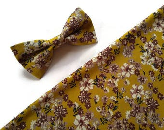 Mustard beige brown grey blossoms bow tie for FALL wedding ideas for groom attires groomsmen neck ties ringbearer outfit fatherof the bride