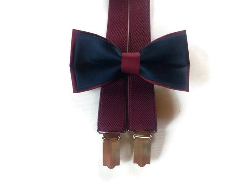 47abb8969237 DOUBLE COLORED wedding burgundy and navy set for groom suspenders burgondy  adult bow tie bowtie groomsmen for groom ring bearer fiancee