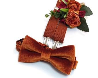 RUST VELVET bow tie Terracotta elastic suspenders Groom outfit Groomsmen neck ties pocket square boutonnieres Father of the Bride attire